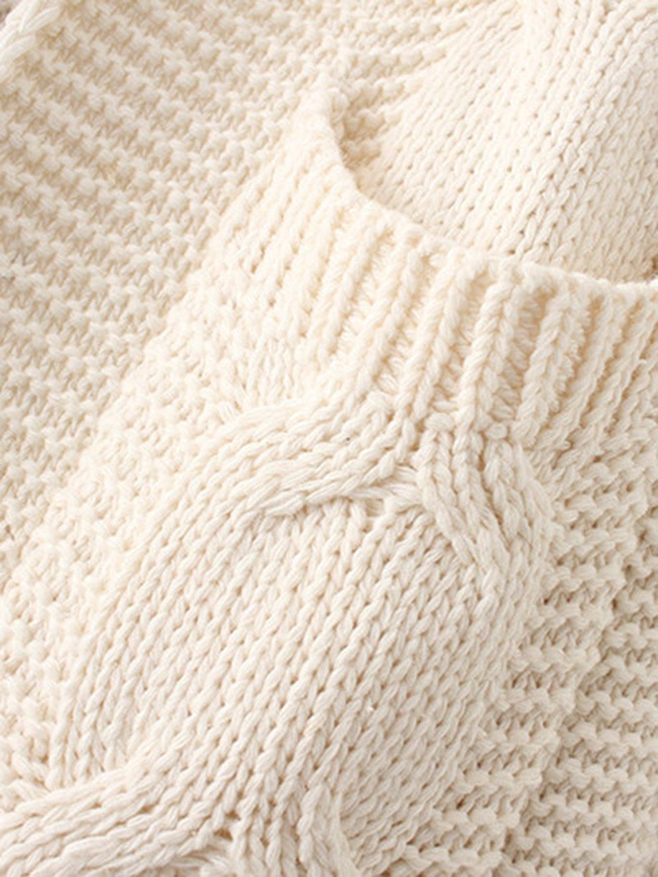 Beige Cable Knit Open Front Dual Pocket Cardigan