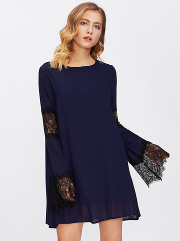 Navy Blue Eyelash Lace Contrast Scallop Double Layer Dress