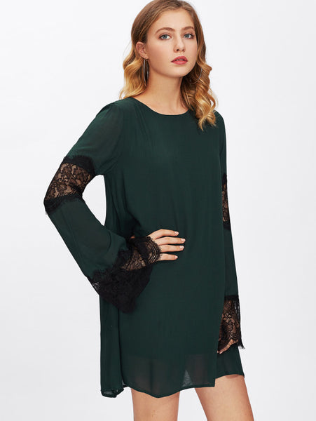 Green Round Neck Contrast Scallop Lace Eyelash Long Sleeve Double Layered Tunic Mini Dress