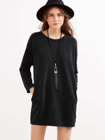 Black Drop Shoulder Dress With Side Pockets