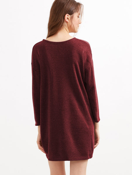 Burgundy Drop Shoulder Dress With Side Pockets