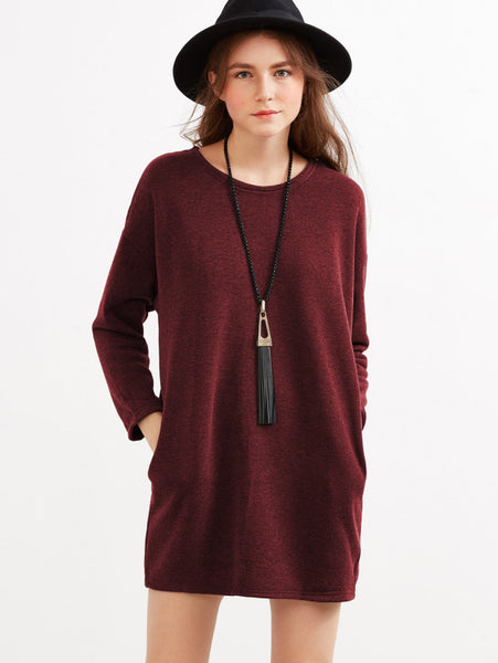 Black Round Neck Long Sleeve Marled Knit Dress
