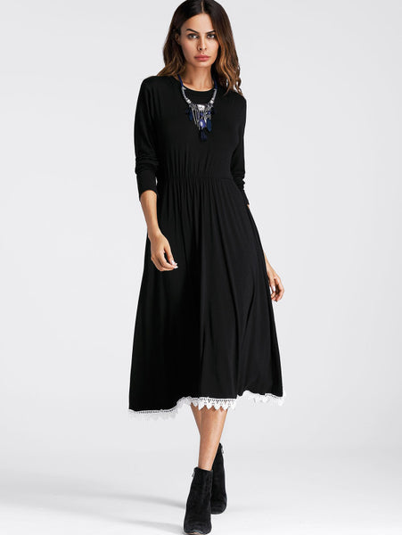 Black Contrast Crochet Hem Round Neckline Long Sleeve Swing Midi Dress