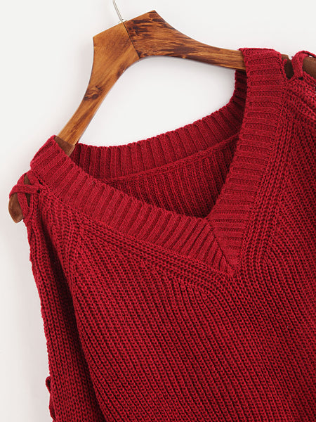 Burgundy V-Neck Lace Up Slit Side Sweater