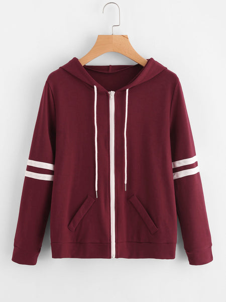 Burgundy Zip Up Hooded Varsity Striped Jacket
