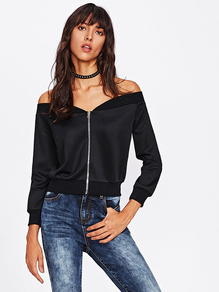 Black Zip Up Off Shoulder Jacket