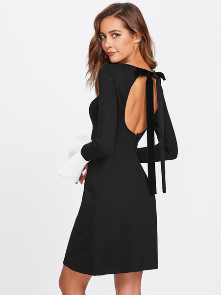 Black Color Block Round Neckline Contrast Flare Cuff Long Sleeve Open Back Midi Dress