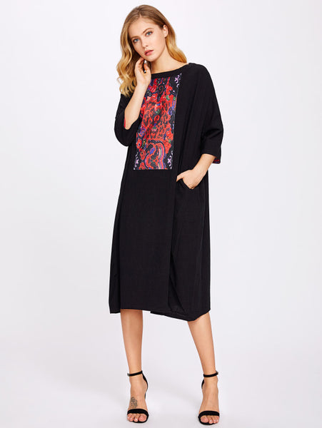 Black Floral Patch Detail Boat Neck Batwing 3/4 Sleeve Tunic Midi Dress