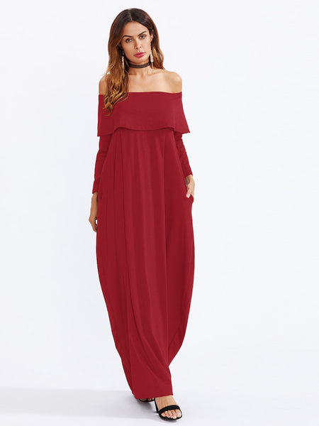 fb9ae0ecc79 Plain Burgundy Fold Over Off Shoulder Long Sleeve Cocoon Maxi Dress ...