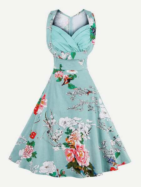 Green Overall Floral Print Sweetheart Neckline Sleeveless Zipper Back Folds Swing Midi Dress
