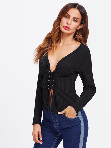 Black Lace Up Ribbed Grommet Top