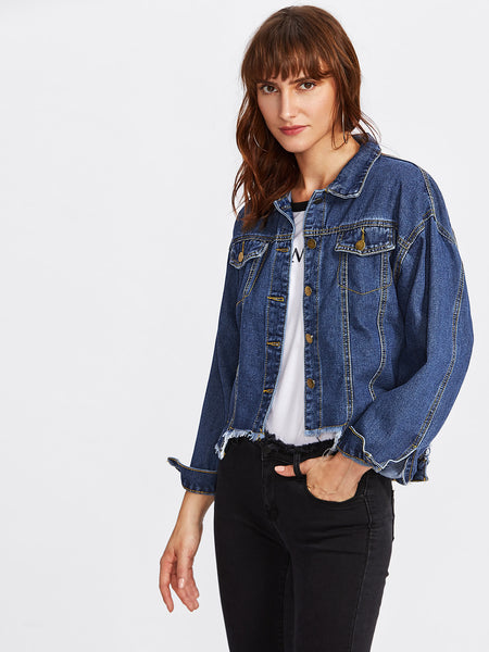 Blue Drop Shoulder Cut Out Hem Denim Jacket