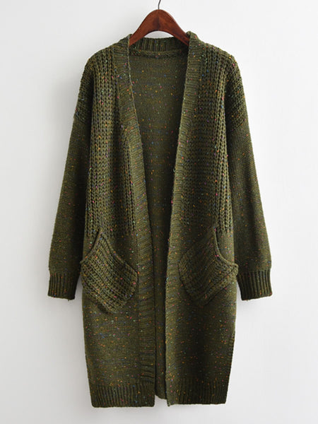 Green Open Front Side Slit Space Dye Drop Shoulder Long Cardigan