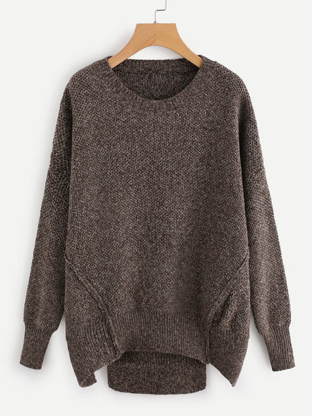 Brown Round Neck Cut Out Hem Drop Shoulder Sweater
