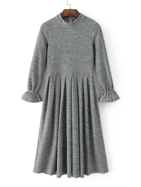 585d251b14 Plain Grey Round Neck Flute Long Sleeve Zipper Back Pleated Hem Knit Midi  Dress