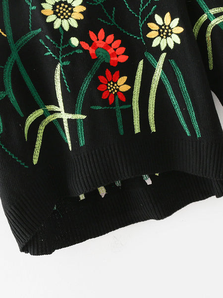 Black Floral Embroidered Dip Hem Sweater