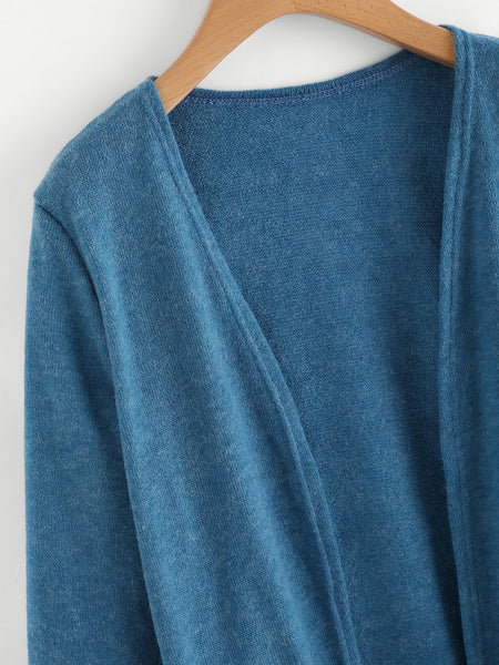 Blue Open Front Elastic Cuff With Pockets Cardigan