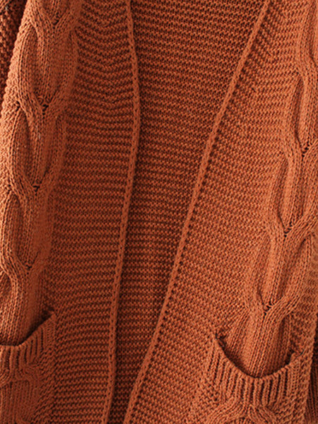 Brown Cable Knit Open Front Dual Pocket Cardigan
