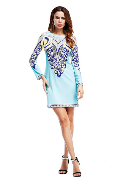 Blue Ornate Print Round Neck Long Sleeve Fitted Mini Dress