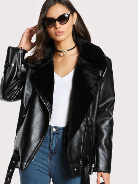 Black Faux Belted Hem Biker Jacket