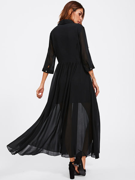 Black Button Up Half Placket Roll Sleeve Maxi Dress