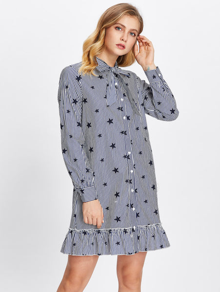 Blue Overall Striped Star Print Bow Band Collar Buttoned Long Sleeve Frill Hem Shirt Mini Dress