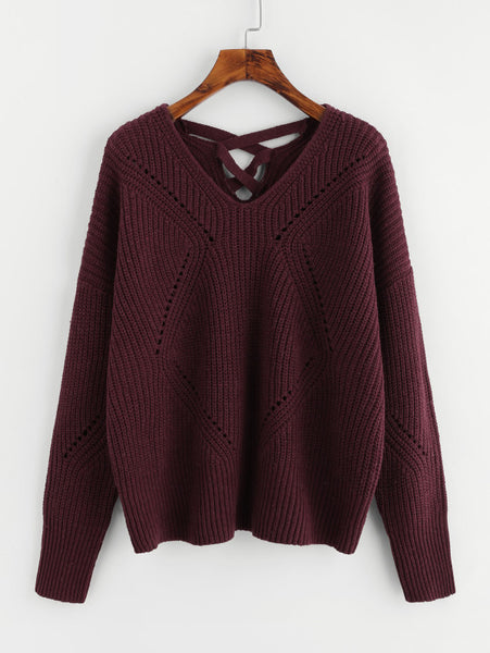 Burgundy Back Eyelet Detail Crisscross Jumper