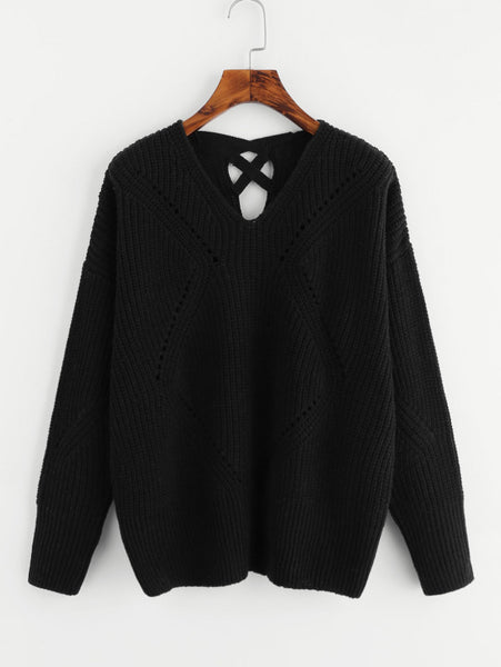 Black Back Eyelet Detail Crisscross Jumper