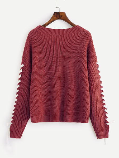 Burgundy Lace Up Sleeve Drop Shoulder Jumper
