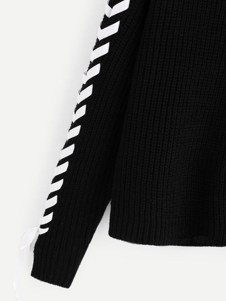 Black Lace Up Sleeve Drop Shoulder Jumper