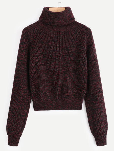 Burgundy Longline Sleeve Rolled Neck Sweater