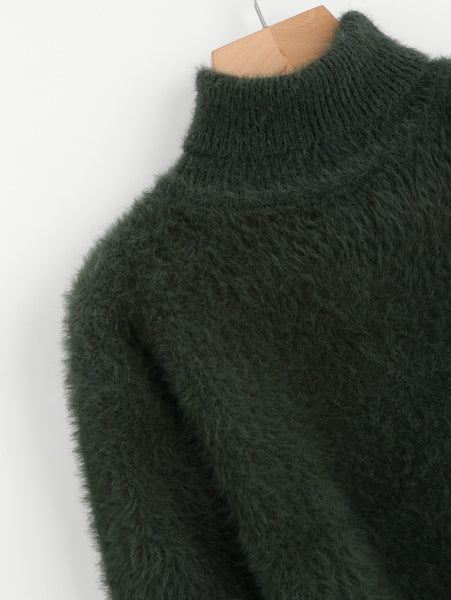 Green Fuzzy Rolled Neck Jumper