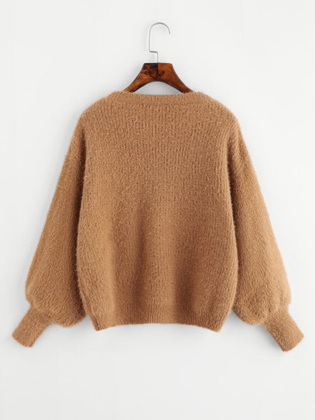 Brown Fuzzy Bishop Sleeve Drop Shoulder Jumper