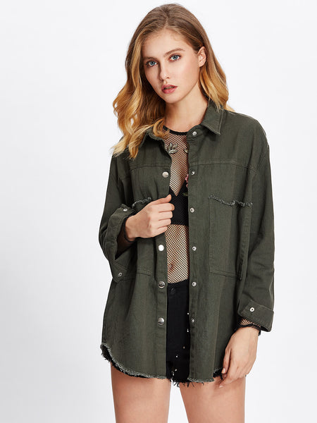 Army Green Button Up Frayed Curved Hem Jacket