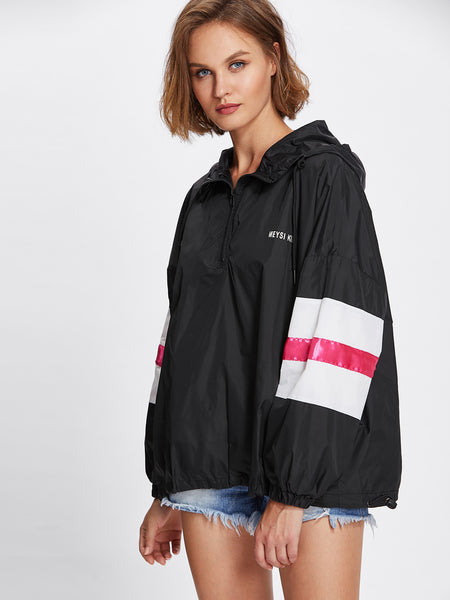 Black Text Print Hooded Anorak Jacket