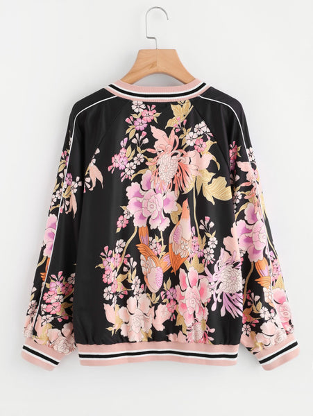 Black Random Print Piping Detail Striped Trim Bomber Jacket