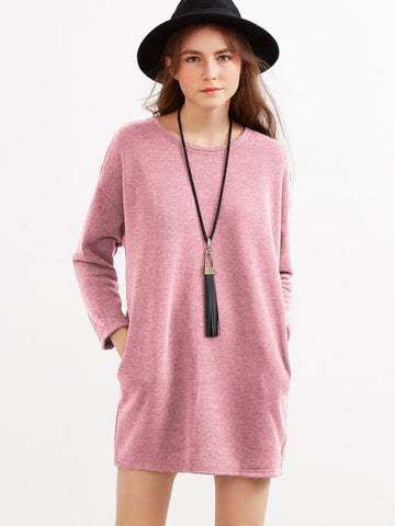 Pink Drop Shoulder Dress With Side Pockets
