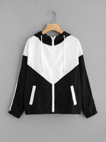 Black And White Two Tone Striped Side Hooded Jacket