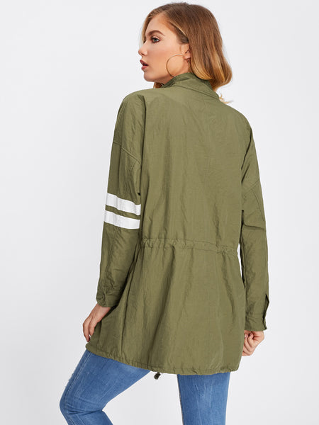 Army Green Contrast Stripe Drop Shoulder Utility Jacket