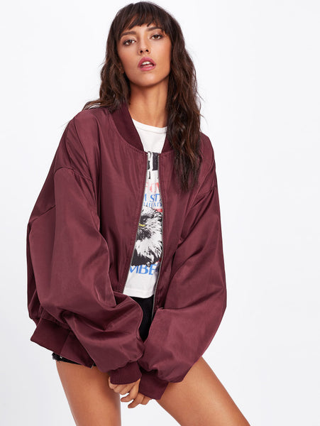 Burgundy Oversized Bomber Patch Back Ribbon Detail Jacket