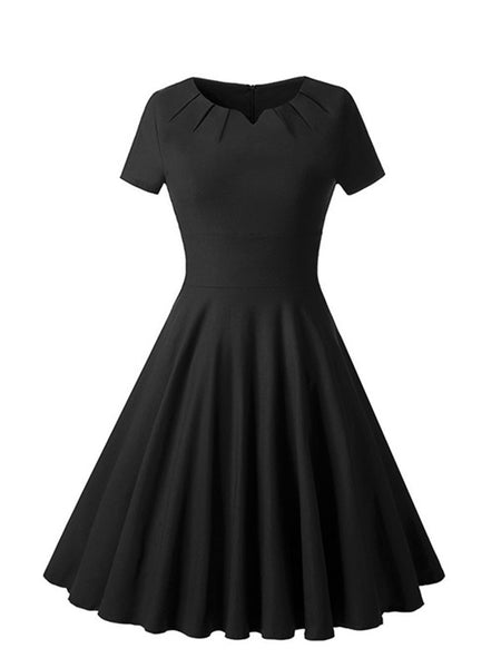 Black Short Sleeve V-Cut Fit and Flare Long Dress