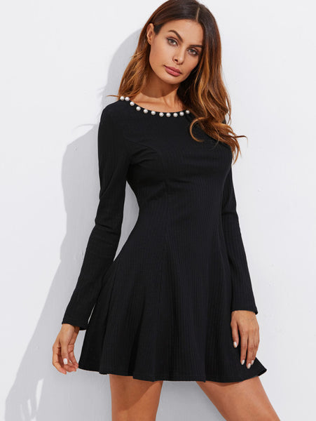 Black Pearl Beading Round Neckline A Line Long Sleeve Princess Seam Detail Ribbed Mini Dress