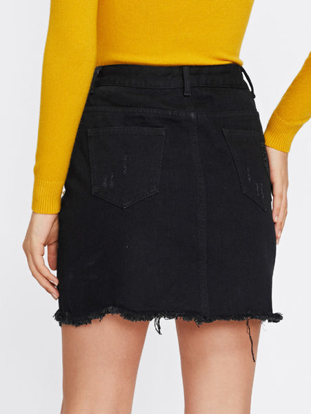 Black Ripped Back Pocket Raw Cut Hem Skirt