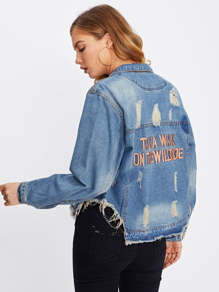 Blue Letter Embroidered Ripped Frayed Hem Denim Jacket