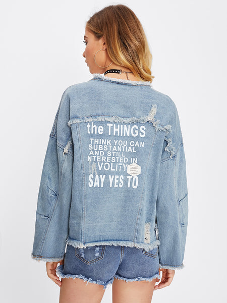 Blue Letter Print Drop Shoulder Raw Hem Denim Jacket
