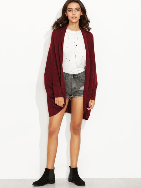 Burgundy Cocoon Jumper With An Open Front