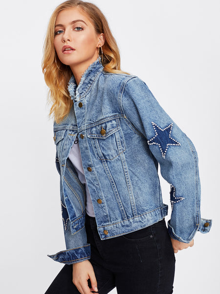 Blue High Neck Bleach Wash Frayed Neckline Star Detail Jacket