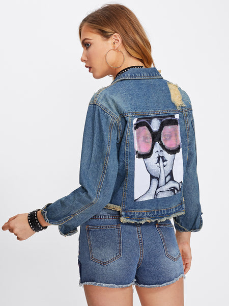 Blue Graphic Sequin Back Frayed Crop Denim Jacket