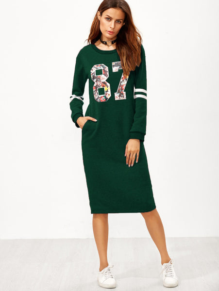 Green Slit Back Zipper Varsity Print Sweatshirt Dress