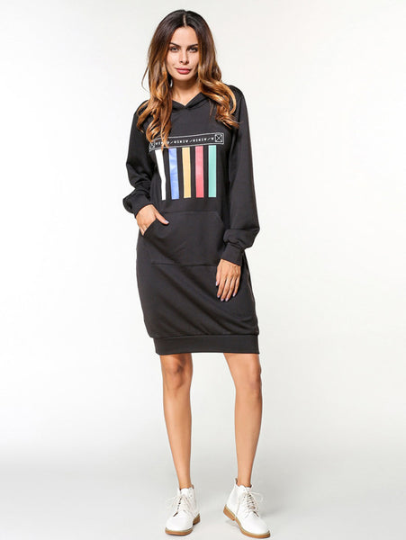 Black Printed Chest Hoodie Front Pockets Long Sleeve Midi Dress
